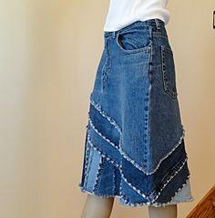Upcycled Pieced Jean Skirt Ella 2day Denim Skirt por DenimDiva2day