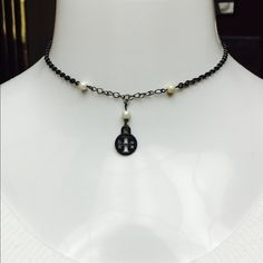 "Tory Burch Black Logo & Baby Pearl Necklace GORGEOUS & DAINTY! Tory Burch Black Logo & Baby White Pearl Necklace- 16"" L with 2"" Extender. Absolutely BEAUTIFUL! Brand New, no tags- generic drawstring dust bag- RETAIL $89 Tory Burch Jewelry Necklaces"