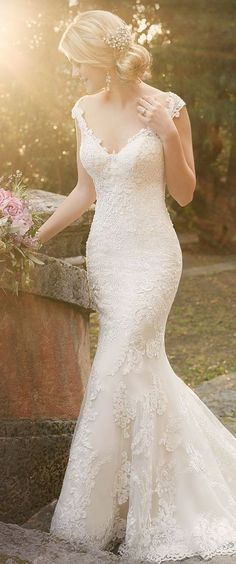 Wedding dress by Essense of Australia Spring 2016 Bridal Collection / http://www.deerpearlflowers.com/wedding-dresses-with-cap-sleeves/