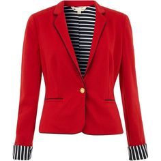 Jersey blazer with contrast stripe lining. Jacket. Plain. Long-sleeved. 95% Polyester, 5% Elastane. Dry clean only.