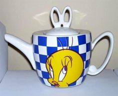 Tweety Bird Checkerboard Teapot Warner Bros Store 1996