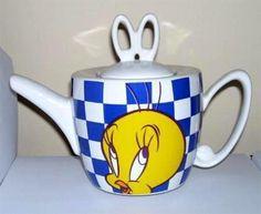 Tweety Bird Checkerboard Teapot Warner Bros Store 1996