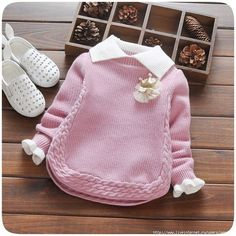 Autumn Baby Girls Long Sleeve Lapel Collar Crown Knitwear Princess Kid