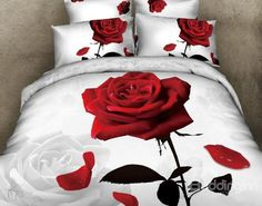 New Arrival 100% Cotton Appealing Swaying Rose 3D Printed 4 Piece Bedding Sets  @bedding inn