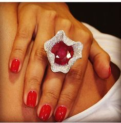 A wonderful African ruby is captured by a fine white diamond pavé. Ruby Jewelry, High Jewelry, Luxury Jewelry, Jewelry Art, Diamond Jewelry, Gemstone Jewelry, Jewelry Accessories, Fashion Jewelry, Jewelry Design