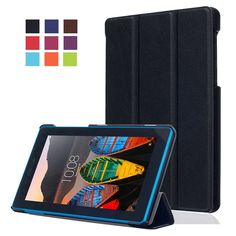 "Lenovo Tab 3 Essential 7.0 710F 7"" inch Smart Case - Bestdeal Ultra Slim Lightweight Case Cover Stand + Screen Protector and Stylus Pen (Black). Specifically designed for Lenovo Tab 3 Essential 7.0 710F 7"" Tablet. Thin, stylish and durable Cover helps to keep your device well protected and free from scratches, scuffs and damage. Built-in stand with two angles: perfect whenever you type an email or watch a movie. Designed with open access to all of your tablet's ports. Premium PU leather..."
