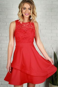 ead61d7fe Glance My Way Fit and Flare Dress in Red