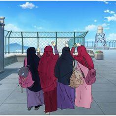 Always belong, until heaven Hijabi Girl, Girl Hijab, Muslim Girls, Muslim Couples, Lockscreen Hd, Couple Wedding Dress, Islamic Cartoon, Anime Muslim, Hijab Cartoon