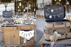 Make a splendid display case with this pair of burlap canvas luggage. They can be also used as stylized vintage storage boxes or as decoration. Chic Wedding, Wedding Details, Rustic Wedding, Wedding Reception, Our Wedding, Wedding Wishes, Vintage Theme, Vintage Decor, Burlap Canvas