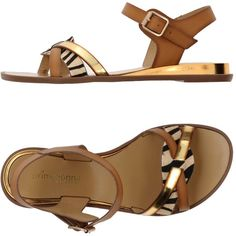 Primadonna Sandals (41 AUD) ❤ liked on Polyvore featuring shoes, sandals, tan, leather buckle sandals, flat leather sandals, ankle strap flat sandals, ankle wrap flat sandals and leather shoes