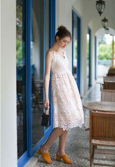 8f7496a21 Moonlit Night Cross Back Crochet Cami Dress - DRESS - Retro