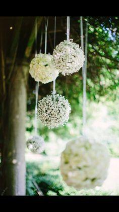 Hanging gypsophila balls