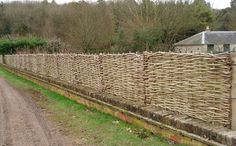 wattle fenceWattle hurdles on top of brick wall. Stevens The Hurdle Maker offers Wattle Hurdles, Continuous Weave, Stakes and Binders, River Faggots, Rose Arches, Pea Sticks, Spar Gads, Sweet Chestnut Posts and Rails and welcomes any special enquiry you may have. Hampshire, UK. wattlehurdles.com