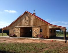 36x28 Modular Horse Barn with 2 -10' Overhangs.  Located in Washington, GA.