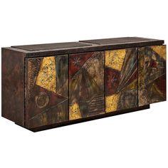 Paul Evans Sculpted And Welded Steel Concertina Door Cabinet