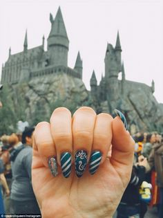 Hogwarts here I come: One fan showed off her themed manicure at the Wizarding World of Har...