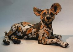 African Wild Dog Pup - raku sculpture | Flickr - Photo Sharing!