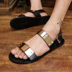 free shipping Open toe men's sandals personality rivet gladiator sandals gold paillette sandals specail man shoes US $22.85