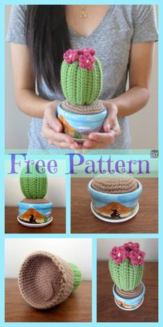 Crochet Amigurumi Basket Cactus Amigurumi- Free Patterns - If you can't find the time or space to grow some plants outdoors, you can make one of these Crochet Cactus Amigurumi instead! They are simple and fun, and Crochet Cactus Free Pattern, Crochet Giraffe Pattern, Crochet Amigurumi Free Patterns, Diy Crochet Cactus, Crochet Apple, Amigurumi For Beginners, Baby Afghan Crochet, Crochet Designs, Crochet Flowers