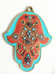 Hamsa RED Turquoise   Evil eye handmade by IrinaSmilansky on Etsy
