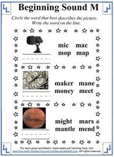 m letter beginning sound worksheet