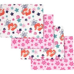 Make cuteness part of your nursery. Snuggle your little princess in super-soft sweetness with this four pack of flannel receiving blankets featuring The Little Mermaid – Ariel! Two fuchsia 100% Cotton flannel fabric blankets feature a pretty pattern of stars and shells; the other two feature Ariel on a foamy white ocean background. Coordinates with the complete line of The Little Mermaid Ariel Sea Treasures nursery bedding and décor.