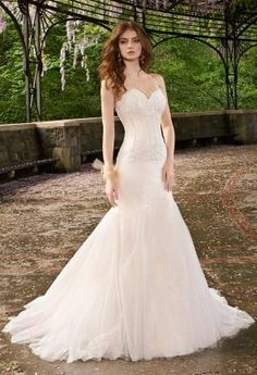 Strapless Mesh Wedding Dress    Camillelavie.com