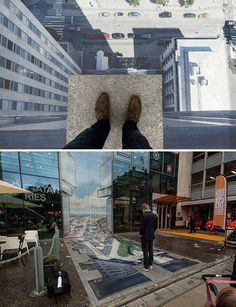 Street Art Illusion Drawings by Ramon Bruin. need to get better at shadowing. art on the edge. Amazing Street Art, 3d Street Art, Street Art Graffiti, Amazing Art, Graffiti Artists, Illusion Kunst, Illusion Art, Banksy, 3d Sidewalk Art
