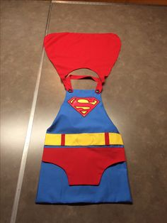 Superman dress up apron with removable cape and neck strap