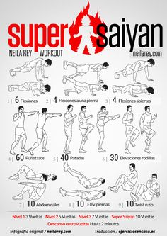 Super Saiyan Workout / works: shoulders triceps core lower back glutes chest quads front hip flexors calves lower bas abs later abs Hero Workouts, Gym Workout Tips, Workout Challenge, Workout Fitness, Neila Rey Workout, Kickboxing Workout, Naruto Workout, Super Saiyan Workout, Spartan Workout