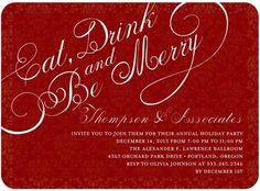 Eat Drink & Be Merry Corporate Holiday Party Invitations at Tiny Prints