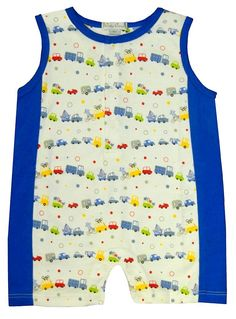 Kissy Kissy Sleeveless, Short Playsuit for Baby or Toddler Boy Printed with Cars and Trucks Pattern, $32.00