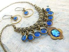 Gypsy necklace blue bohemian necklace Moroccan by Gypsymoondesigns, $35.00
