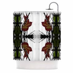 """Pia Schneider """"Leaves"""" Red Green Shower Curtain"""