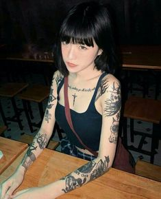 Korean Tattoos, Asian Tattoos, Hot Tattoos, Girl Tattoos, Tattoed Women, Tattoed Girls, Asian Tattoo Girl, Mujeres Tattoo, Ulzzang Korean Girl