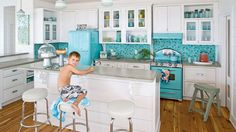 Retro Retro Beach Kitchen - 20 Beautiful Beach Cottages - Coastal Living - From polished and sophisticated to rustic and casual, you can find your very own coastal style from this collection of our favorite beach cottages. Beach Cottage Style, Beach House Decor, Coastal Style, Retro Beach House, Shabby Chic Kitchen, Vintage Kitchen, 1950s Kitchen, Vintage Fridge, Retro Kitchen Appliances