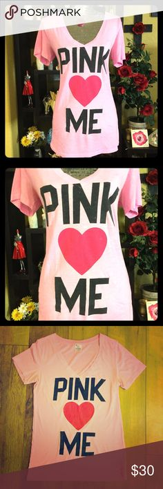 VS PINK V-Neck shirt One of my favorite shirts! In excellent condition, long torso, breathable but not see through, beautiful color, and the writing is in perfect condition. PINK Victoria's Secret Tops Tees - Short Sleeve