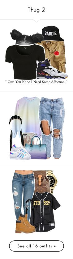 """""""Thug 2"""" by jasmine-o28 ❤ liked on Polyvore featuring HLZBLZ, American Eagle Outfitters, Topshop, B Brian Atwood, DKNY, Furla, adidas, colors, boyfriendjeans and Howtostyle"""