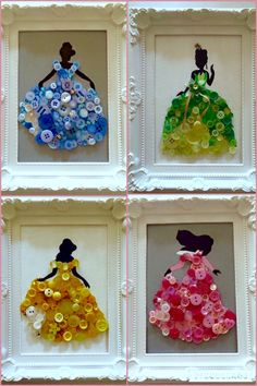 DIY -Disney Princess Button Art.                                                                                                                                                                                 More