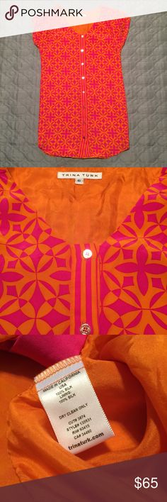 TRINA TURK 100% Silk Pink & Orange Dress Spunky and bright, this 100% Silk dress from Trina Turk can be easily paired with black tights and a cardigan for a pop of color at a holiday party and then worn alone with bare legs and sandals to ring in the spring and summer! Trina Turk Dresses Mini