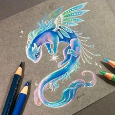 Galaxy star bringer ✨ Tried to imagine a space salamander, but it suddenly tur. - Galaxy star bringer ✨ Tried to imagine a space salamander, but it suddenly turned into a dragon ^^ - - ? Cute Dragon Drawing, Dragon Sketch, Cute Dragon Tattoo, Galaxy Painting, Galaxy Art, Matte Painting, Cute Animal Drawings, Cool Drawings, Galaxy Drawings