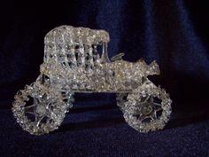 Vintage Spun Blown Glass Car Auto Automobile Old Fashioned Clear Art Sculpture #VintageCarFigurine  #GlassCar  #CollectibleCar  $24.99