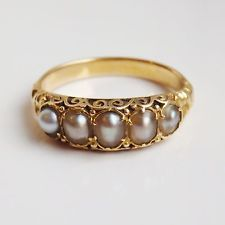 Stunning Antique Victorian Gold Freshwater Pearl Ring in Box; UK Size 'M' Gold Rings Jewelry, Gold Jewelry Simple, Jewelry Design Earrings, Gold Earrings Designs, Womens Jewelry Rings, Antique Jewelry, Antique Gold Rings, Gold Ring Designs, Gold Bangles Design
