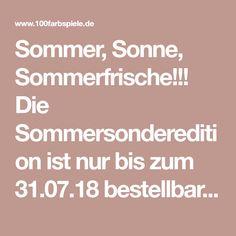 Sommer, Sonne, Sommerfrische!!! Die Sommersonderedition istnur bis zum 31.07.18 bestellbar, erhältlich in 10 Farbkombis, jeweils mit Weiss. Die Farben beginnen immer mit