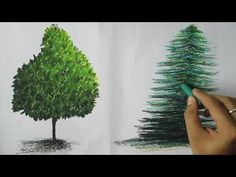 How to Paint Trees with Oil Pastel - YouTube