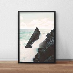 Geometric Printable, Printable Wall Art, Triangle Home Decor, Kitchen Decor, Art Print, Poster, Abstract Art, Gift for Him