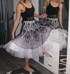 Tutu crochet Skirt Black and white