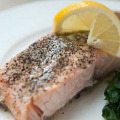 Steamed Salmon with Watercress and Lemon Butter