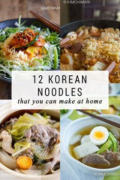 12 Korean Noodles That You Can Make at Home Korean noodle recipes that you can make at home. Includes cold noodles, noodle salads and classic favorites like japchae and easy ramen recipes. Easy Korean Recipes, Asian Noodle Recipes, Ramen Recipes, Lunch Recipes, Asian Recipes, Cooking Recipes, Healthy Recipes, Noodle Salads, Ramen Noodle