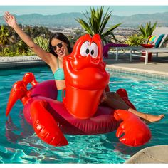 I think we all need a Sebastian pool float! #pool #beach #poolparty #littlemermaid #mermaid